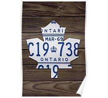 Toronto Maple Leafs Hockey License Plate Art - Dark Walnut Poster