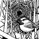 Bird with Nest Black and White by M McKeithen