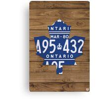 Toronto Maple Leafs Rustic License Plate Art - Light Walnut Canvas Print