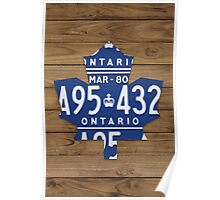 Toronto Maple Leafs Rustic License Plate Art - Light Walnut Poster
