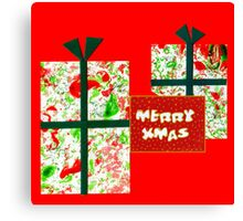 Marbled and Collaged Merry Xmas Card Canvas Print