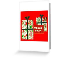 Marbled and Collaged Merry Xmas Card Greeting Card