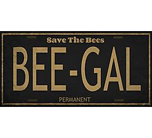 Bee Gal License Plate Photographic Print