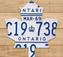 Toronto Maple Leafs Logo with License Plates  - Natural Stain by Route401
