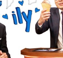 Joe Biden and Jimmy Fallon Eating Ice Cream  Sticker