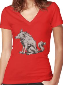 grumpy  morning wolf Women's Fitted V-Neck T-Shirt