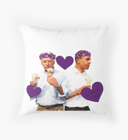 Joe Biden and Barack Obama Eating Ice Cream Throw Pillow