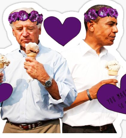 Joe Biden and Barack Obama Eating Ice Cream Sticker
