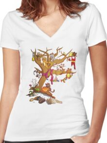 9 Cats on the Old Witch Tree Women's Fitted V-Neck T-Shirt