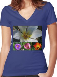 Flowering Bulbs Collage Women's Fitted V-Neck T-Shirt