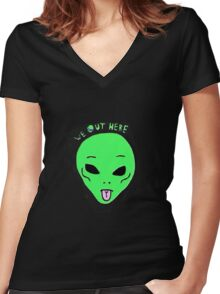 We Out Here Women's Fitted V-Neck T-Shirt