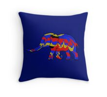Elephant blue red gold 102216 Throw Pillow