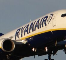 Ryanair 737-800 Landing at Manchester Airport Sticker