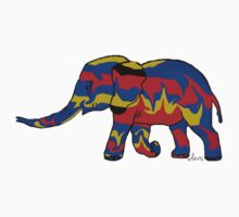 Elephant blue red gold 102216 Kids Tee