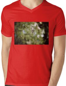 Large tropical spider in the web Mens V-Neck T-Shirt