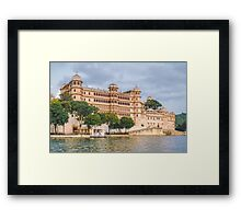 Udaipur - View of City Palace from Lake Pichola Framed Print