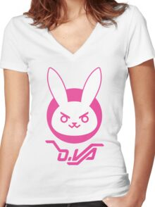 OVERWATCH D. VA Women's Fitted V-Neck T-Shirt