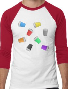 Colourful Cascading Coffee Cups Men's Baseball ¾ T-Shirt