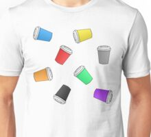 Colourful Cascading Coffee Cups Unisex T-Shirt