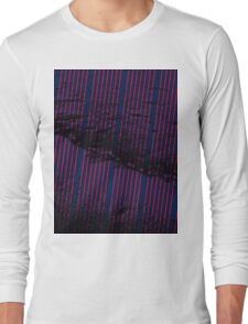 Vibrant Red stripes on bold blue background Long Sleeve T-Shirt