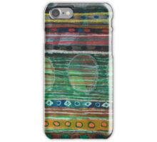 Dark Folcloristic Pattern With Vertical Stripes And Ovals iPhone Case/Skin