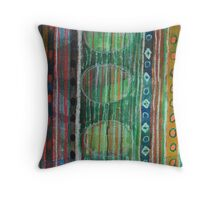 Dark Folcloristic Pattern With Vertical Stripes And Ovals Throw Pillow