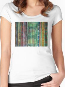 Dark Folcloristic Pattern With Vertical Stripes And Ovals Women's Fitted Scoop T-Shirt