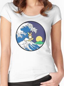 The Great Wave of Alola (Night) -Black Border Women's Fitted Scoop T-Shirt