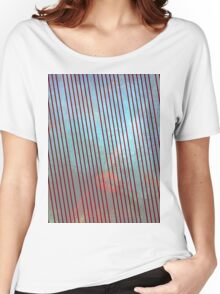 Red stripes on grunge  Women's Relaxed Fit T-Shirt