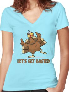 Let's Get Basted - Funny Thanksgiving T Shirt Women's Fitted V-Neck T-Shirt