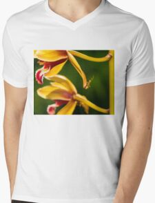 Macro shot of ant walking on a coloured orchid flower Mens V-Neck T-Shirt
