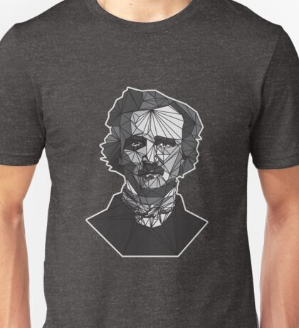 Geometric Bust Portrait of Edgar Allan Poe Unisex T-Shirt