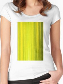 Macro shot of green bamboo texture, nature backgroud Women's Fitted Scoop T-Shirt