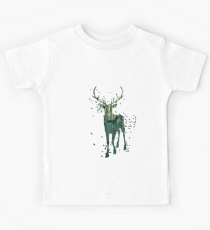 Deer and Abstract Forest Landscape Kids Tee