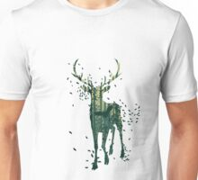 Deer and Abstract Forest Landscape Unisex T-Shirt