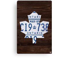 Toronto Maple Leafs Wood License Plate Art - Dark Stain Canvas Print