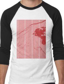 Red stripes on grunge textured pink background Men's Baseball ¾ T-Shirt