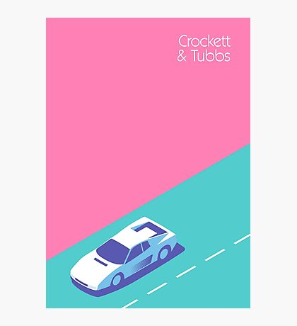 Miami Vice Crockett & Tubbs Ferrari (Magenta) Photographic Print