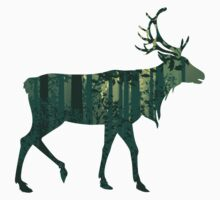 Deer and Abstract Forest Landscape 2 One Piece - Short Sleeve