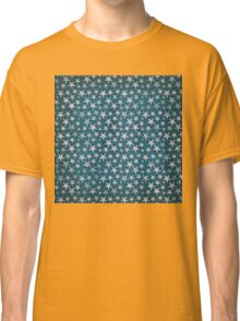 White stars on grunge textured blue background Classic T-Shirt