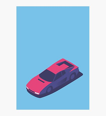 Ferrari Testarossa Isometric (Small Blue) Photographic Print