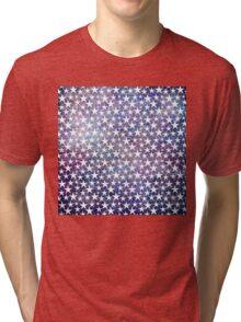 White stars on bold grunge blue Tri-blend T-Shirt