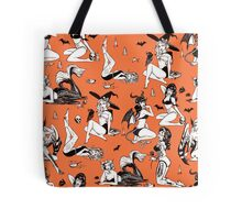Monster Girl Pinup Pattern Tote Bag
