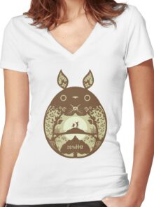 Totoro Tree Women's Fitted V-Neck T-Shirt