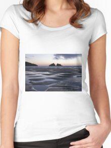 Holywell Bay, Cornwall, UK ~ Atlantic Coast Women's Fitted Scoop T-Shirt