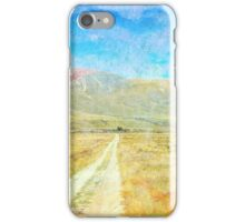 Grunge country road through meadows iPhone Case/Skin