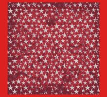 White stars on grunge textured red background One Piece - Long Sleeve