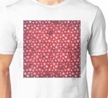 White stars on grunge textured red background Unisex T-Shirt
