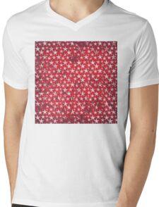 White stars on grunge textured red background Mens V-Neck T-Shirt