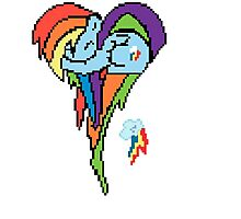 Rainbow Dash Pixel Art Heart Photographic Print